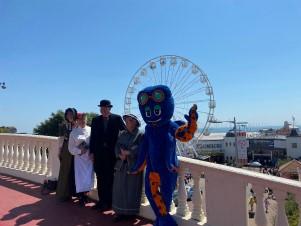 CADS actors and CJ the Octopus on Clacton's Venetian Bridge