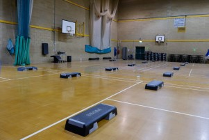 Clacton Leisure Centre main sports hall set up to host fitness classes