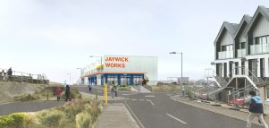 Design for new Jaywick Sands workspace looking West