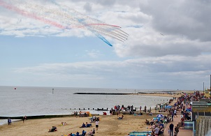 Red Arrows above Clacton seafront on day two of the Clacton 150 Anniversary Flights