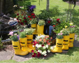 RNLI wellies planted with flowers