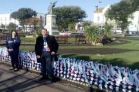Maria Gormley from SANDS and Councillor Jeff Bray at the 2020 Baby Loss Awareness Week ribbon display in Clacton